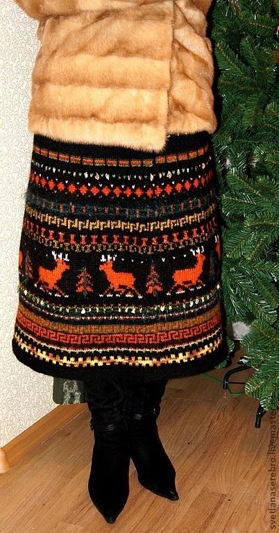 """Юбки ручной работы. Ярмарка Мастеров - ручная работа. Купить Юбка """"северные олени"""" расклешенная зимняя. Handmade. Орнамент"""