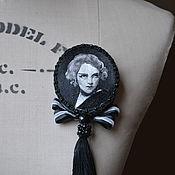 Украшения handmade. Livemaster - original item embroidered brooch-portrait of Marlene. Handmade.