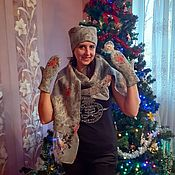Аксессуары handmade. Livemaster - original item WONDERFUL GARDEN set (hat, mittens, scarf-bactus ). Handmade.