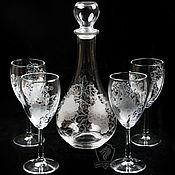 Посуда handmade. Livemaster - original item Grapes. Decanter and wine glasses. Handmade.