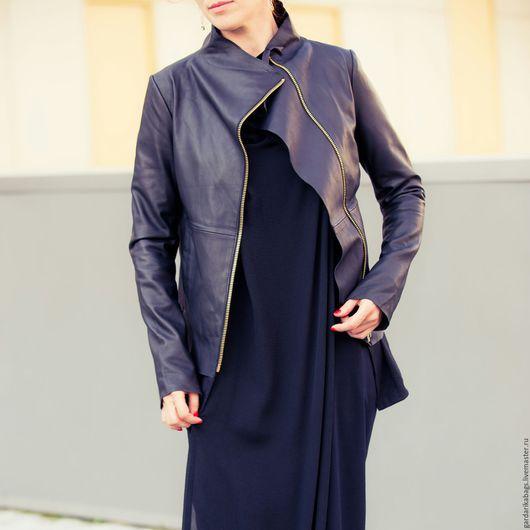 Верхняя одежда ручной работы. Ярмарка Мастеров - ручная работа. Купить Кожаная куртка черная с трикотажем. Handmade. Черный