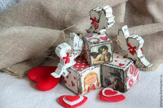 Подарки для влюбленных ручной работы. Ярмарка Мастеров - ручная работа. Купить Интерьерный кубик с ангелом. Handmade. Кубики, валентинка, ангелочки