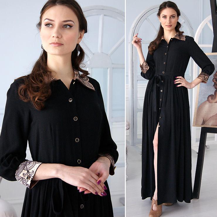 Черное вечернее платье в пол, длинное летнее платье из штапеля, Платья, Новосибирск,  Фото №1