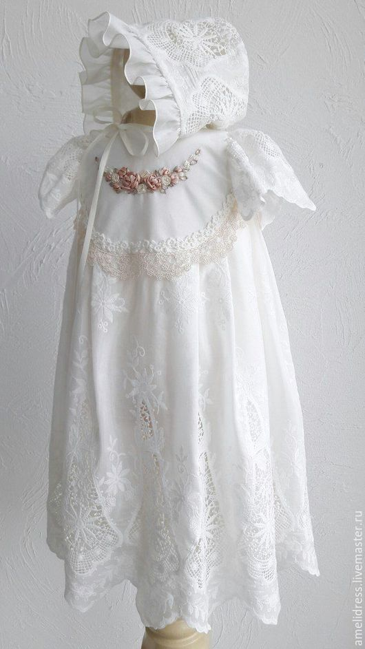 Крестильные принадлежности ручной работы. Ярмарка Мастеров - ручная работа. Купить крестильное платье. Handmade. Белый, винтажный стиль, нежность