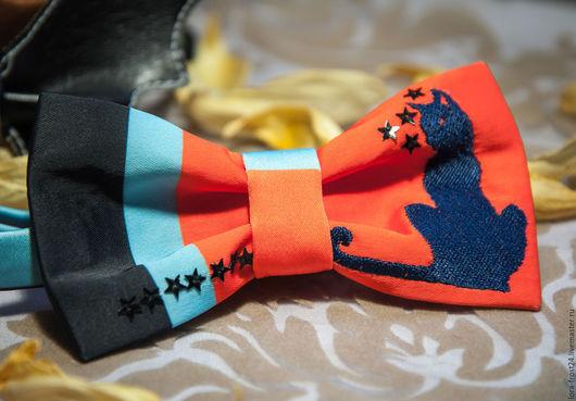"""Галстуки, бабочки ручной работы. Ярмарка Мастеров - ручная работа. Купить Бабочка """"КОШКА"""". Handmade. Рыжий, бабочка на шею, полоска"""