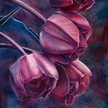 Картины и панно ручной работы. Ярмарка Мастеров - ручная работа Картина Тюльпаны. Handmade.