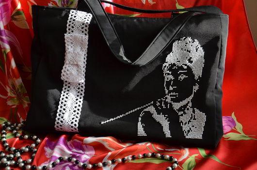 Женские сумки ручной работы. Ярмарка Мастеров - ручная работа. Купить Текстильная сумка с вышивкой. Handmade. Черный, Вышивка бисером