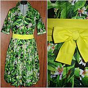 """Одежда ручной работы. Ярмарка Мастеров - ручная работа Платье-рубашка """"Лимоны"""" с желтым поясом в стиле дольче. Handmade."""