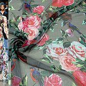 Ткани ручной работы. Ярмарка Мастеров - ручная работа Ткань шифон серый ,цветы    ,НИ  11.08. Handmade.
