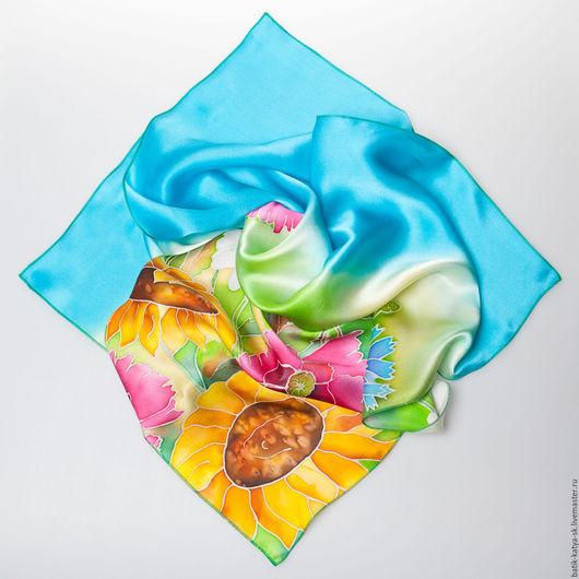 батик, платок батик, шелковый платок, натуральный шелк, ручная роспись, купить в Москве