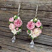 Украшения handmade. Livemaster - original item Earrings with peonies and white lilacs. Handmade.