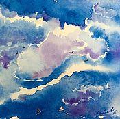 Картины и панно ручной работы. Ярмарка Мастеров - ручная работа Акварель море парусник Воздушные мечты. Handmade.