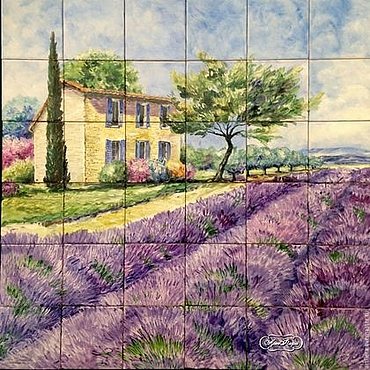 Diseño y publicidad manualidades. Livemaster - hecho a mano Painting ceramic Painting tile Apron for the kitchen lavender Fields. Handmade.