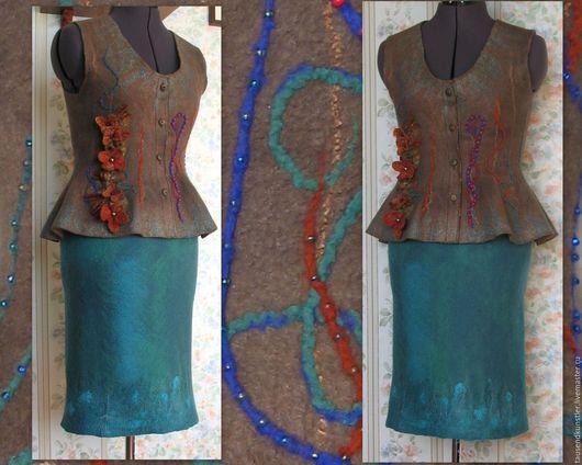 """Юбки ручной работы. Ярмарка Мастеров - ручная работа. Купить Валяная юбка """"Бирюза"""" Продана.. Handmade. Тёмно-бирюзовый"""