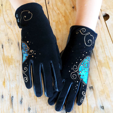 Accessories handmade. Livemaster - original item Black suede leather gloves.Unique design. Size 8. Handmade.