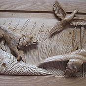 Картины и панно ручной работы. Ярмарка Мастеров - ручная работа панно; охота:резьба по дереву. Handmade.