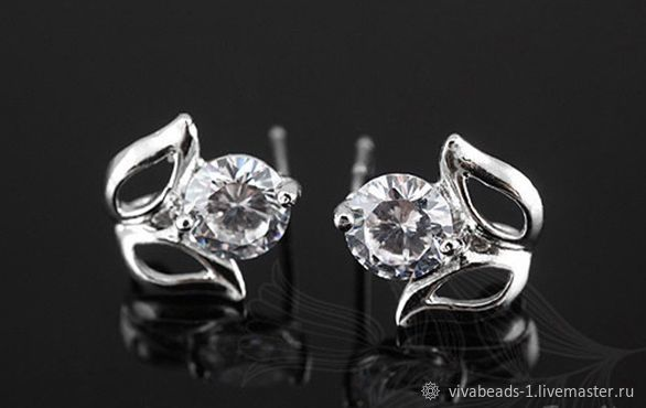 Earrings studs with cubic Zirconia rhodium plated South Korea, size 10 mm, carnations from 925 sterling silver, metal plugs included (art. 2514)