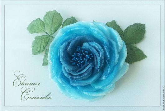 Броши ручной работы. Ярмарка Мастеров - ручная работа. Купить Брошь-цветок из шёлка Голубая роза. Handmade. Тёмно-бирюзовый