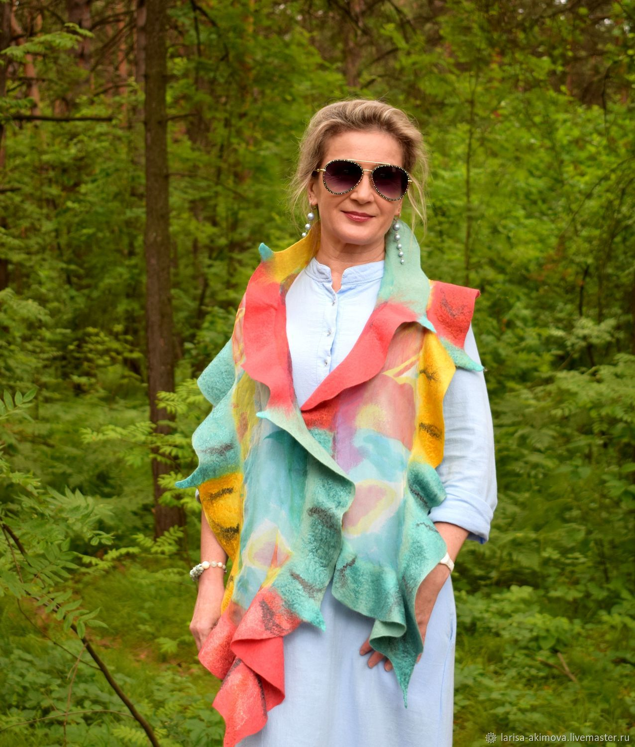 Bright felted scarf with a flounce Happiness is, an airy silk scarf, Scarves, Berdsk,  Фото №1