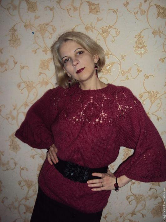Кофты и свитера ручной работы. Ярмарка Мастеров - ручная работа. Купить Пуловер. Handmade. Бордовый, для женщин