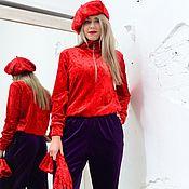 Одежда ручной работы. Ярмарка Мастеров - ручная работа Бархатный костюм красный +фиолетовый. Handmade.