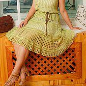 "Одежда ручной работы. Ярмарка Мастеров - ручная работа Вязаная крючком ажурная летняя юбка ""Анастасия"",салатовая. Handmade."