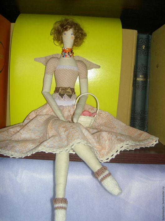 Куклы Тильды ручной работы. Ярмарка Мастеров - ручная работа. Купить Тильда-маленький голубоглазый ангел. Handmade. Бежевый
