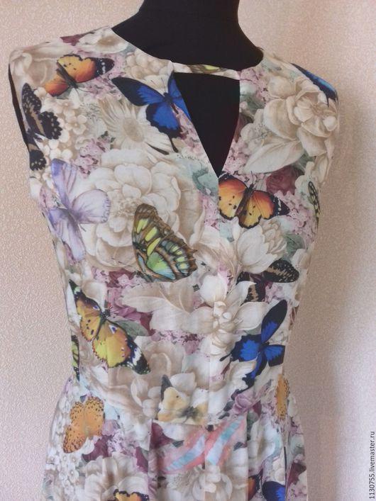 """Платья ручной работы. Ярмарка Мастеров - ручная работа. Купить Платье  в пол, платье миди """"Бабочки"""" из штапеля. Handmade. Разноцветный"""