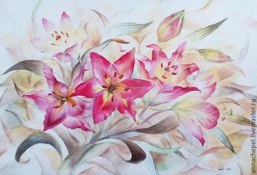 Лилии. Анна Чепель. 40 x 30 см., бумага, акварель, 2010.  Ярко розовые цветы лилии на переднем плане разбросаны на фоне из листьев и бутонов, постепенно уходящих вдаль.