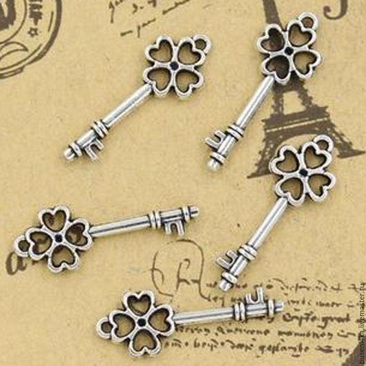 Для украшений ручной работы. Ярмарка Мастеров - ручная работа. Купить Подвеска Ключик №38 античное серебро (1шт). Handmade.