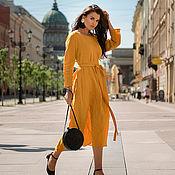 """Платья ручной работы. Ярмарка Мастеров - ручная работа Льняное платье """"Красота простых линий"""" (янтарное). Handmade."""