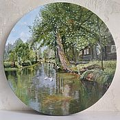Картины и панно handmade. Livemaster - original item Paintings: oil painting. house by the pond in the forest. Handmade.