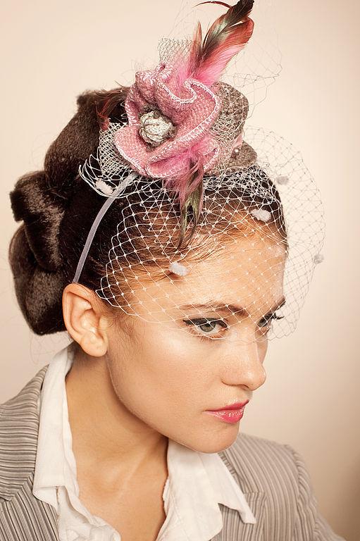 """Диадемы, обручи ручной работы. Ярмарка Мастеров - ручная работа. Купить Шляпка """"Розовый Букет"""". Handmade. Шляпка, вечерние украшения"""