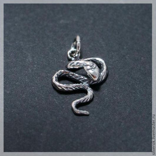 Для украшений ручной работы. Ярмарка Мастеров - ручная работа. Купить Подвеска Змея  серебро 925 проба с чернением. Handmade.