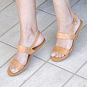 Обувь ручной работы. Ярмарка Мастеров - ручная работа Кожаные сандалии с параллельными ремешками и с ремешком на щиколотке. Handmade.