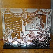 Подарки к праздникам ручной работы. Ярмарка Мастеров - ручная работа Новогодняя открытка для любимого с подсветкой. Handmade.