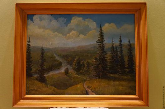 Пейзаж ручной работы. Ярмарка Мастеров - ручная работа. Купить пейзаж. Handmade. Пейзаж маслом, пейзаж, ели, река