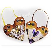 Куклы и игрушки ручной работы. Ярмарка Мастеров - ручная работа Love is... Птички - сердечки, влюбленные парочки, кофейные игрушки. Handmade.