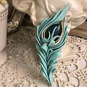 Украшения handmade. Livemaster - original item TURQUOISE FEATHER brooch. Handmade.
