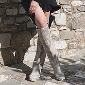Обувь ручной работы handmade. Livemaster - original item boots: Grey high boots with an embroidered boot- Euro winter - Autumn. Handmade.