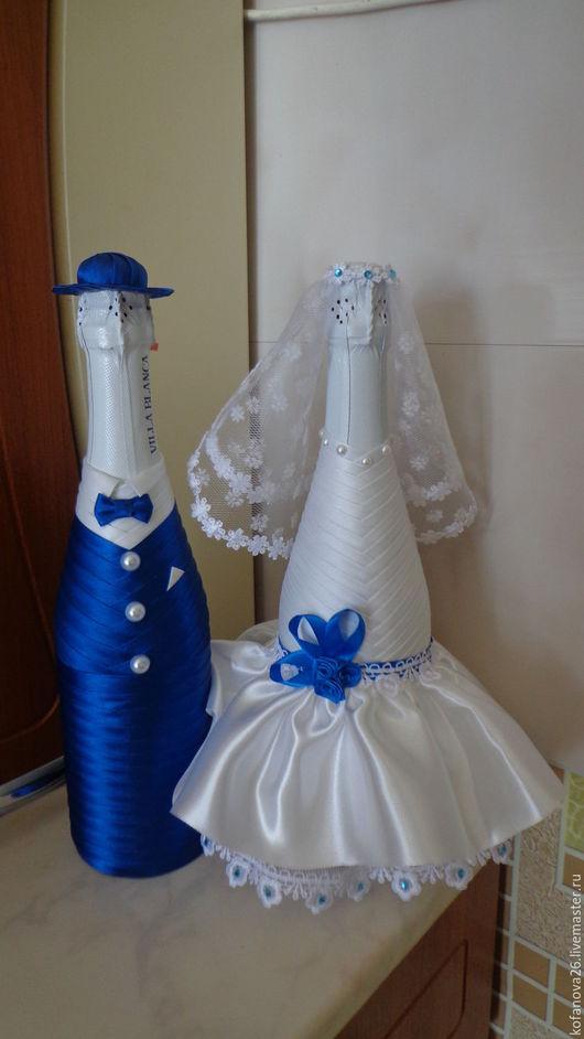 """Свадебные аксессуары ручной работы. Ярмарка Мастеров - ручная работа. Купить украшение свадебных бутылок """"жених и невеста"""". Handmade."""