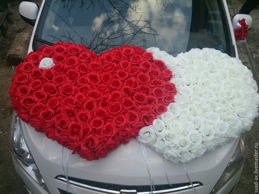 Сердце с розами на машину своими руками