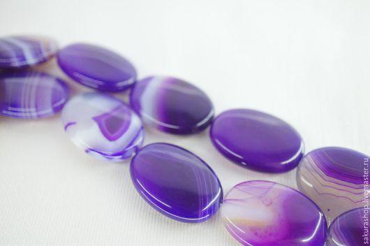 Для украшений ручной работы. Ярмарка Мастеров - ручная работа. Купить Агат фиолетовый овал 25х18мм. Handmade. Фиолетовый