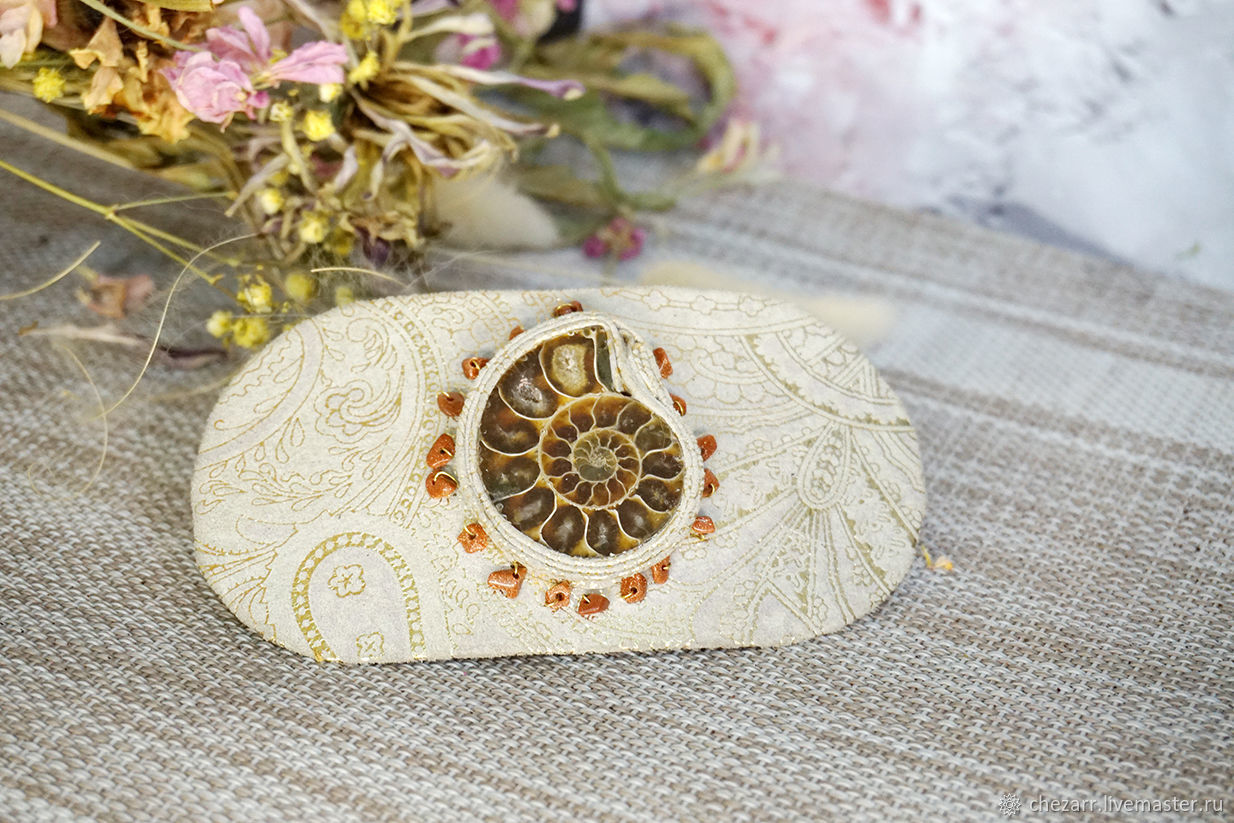 Leather clip with Ammonite, Hairpins, Chelyabinsk,  Фото №1