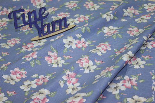 """Шитье ручной работы. Ярмарка Мастеров - ручная работа. Купить Хлопок сатин стрейч """"Цветы на джинсе"""". Handmade. Шитье, ткань"""