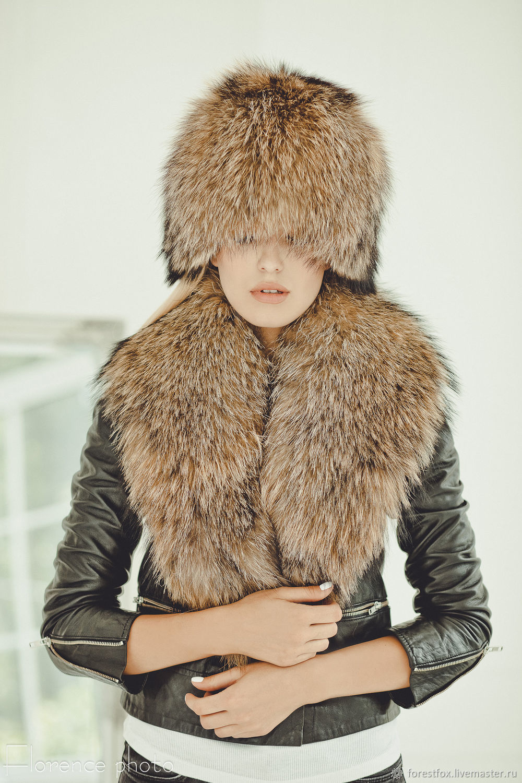 Меховой воротник из енота 100 см, Воротнички, Москва, Фото №1
