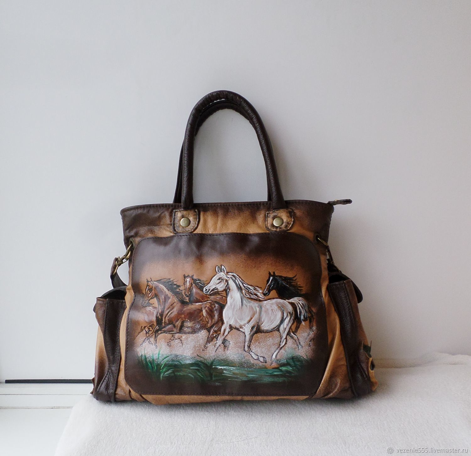Bag leather double-sided with painting to order for Elena, Classic Bag, Noginsk,  Фото №1