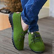 Обувь ручной работы handmade. Livemaster - original item Felted low shoes emerald city. Handmade.