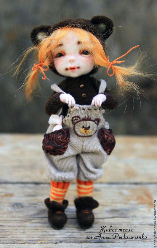 Коллекционные куклы ручной работы. Ярмарка Мастеров - ручная работа. Купить Дюймовочка. Handmade. Коричневый, кукольная миниатюра, тедди-долл