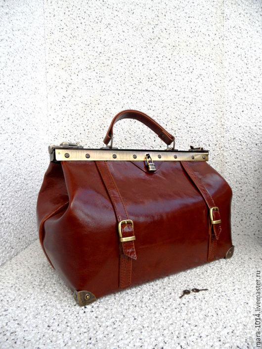 Женские сумки ручной работы. Ярмарка Мастеров - ручная работа. Купить ПРЕСТИЖ 40 см саквояж из кожи внутри и снаружи. Handmade.